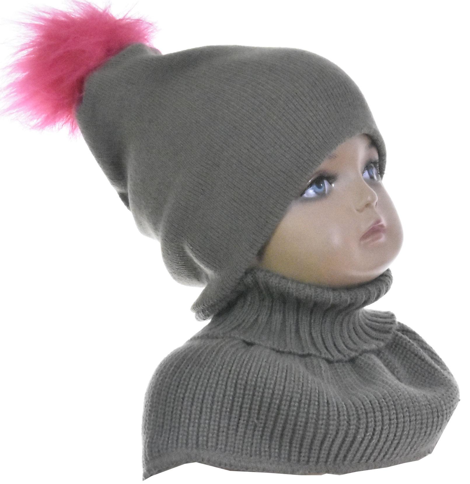 Oryginał Komplet niemowlęcy czapka i szalik golf khaki 1143 KOMPLETY CZAPKA EB99