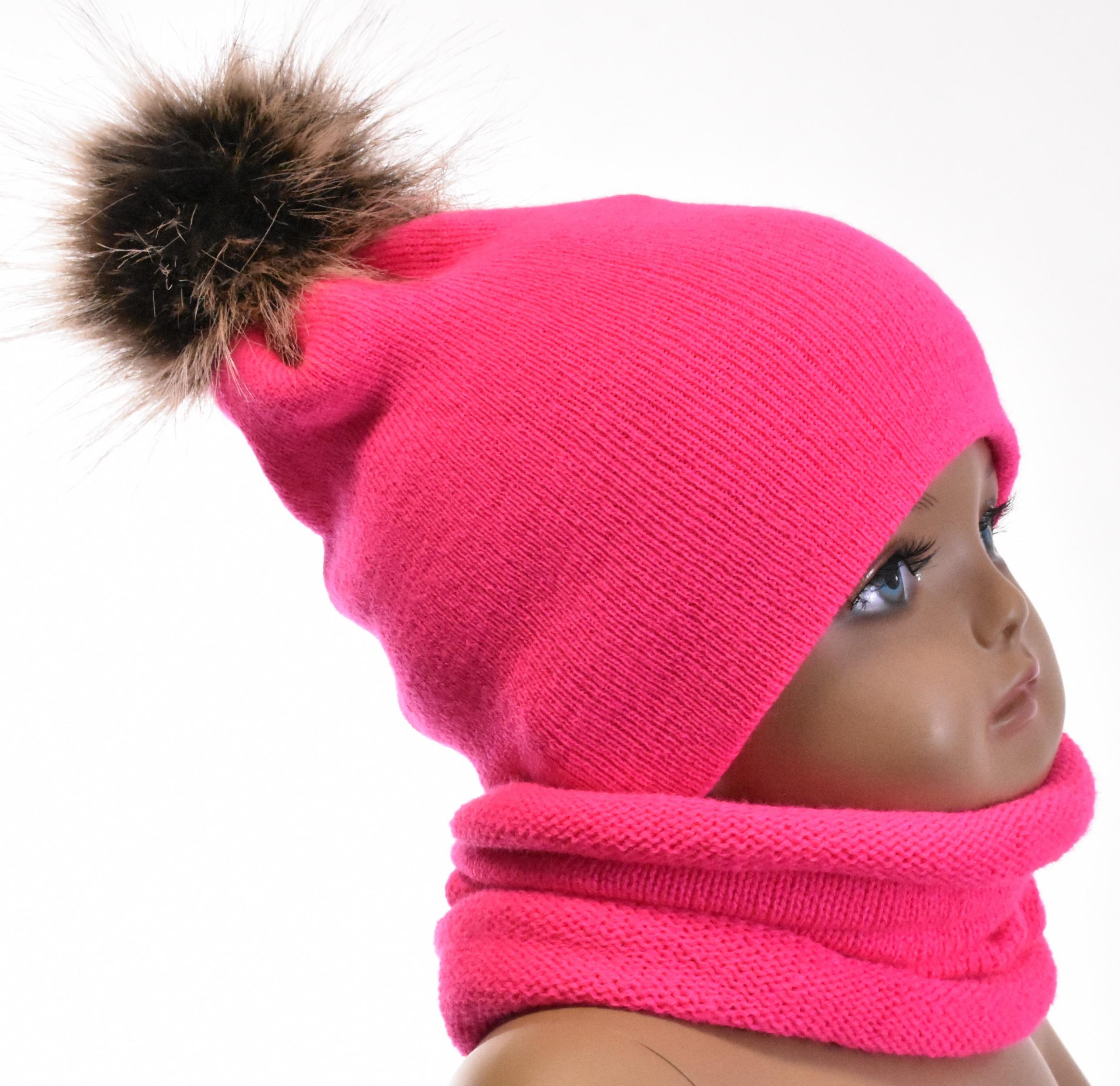 Modernistyczne Komplet niemowlęcy czapka i komin różowy neonowy z pomponem 1007 CJ16