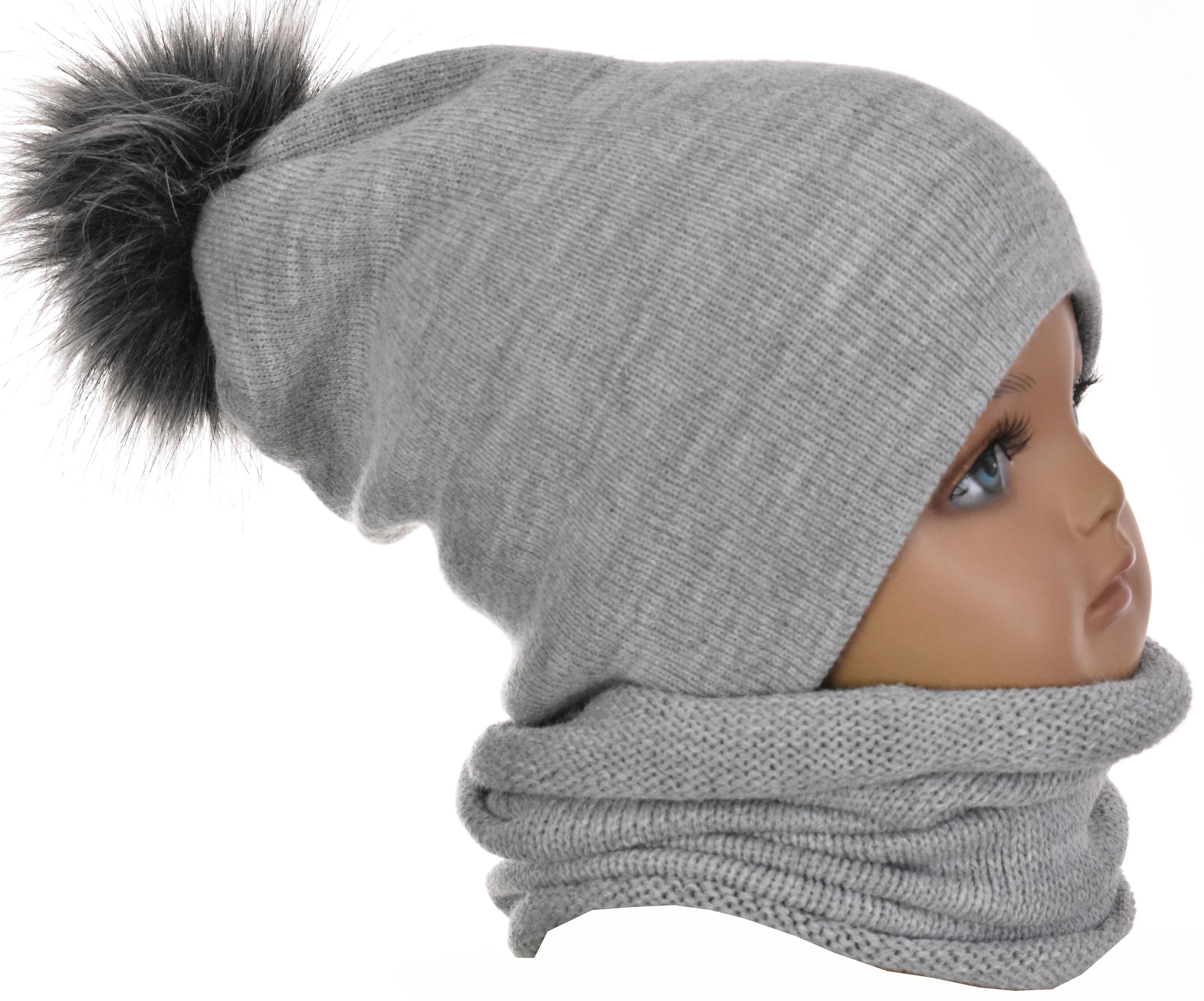 Inne rodzaje Komplet niemowlęcy czapka z pomponem futerkowym i komin szary 1026 AB49